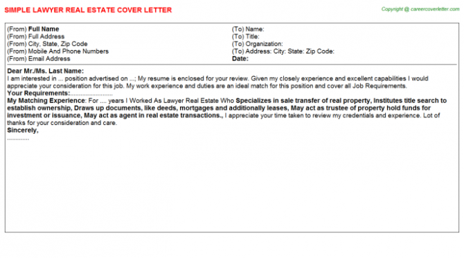 Real Estate Appraiser Trainee Cover Letters