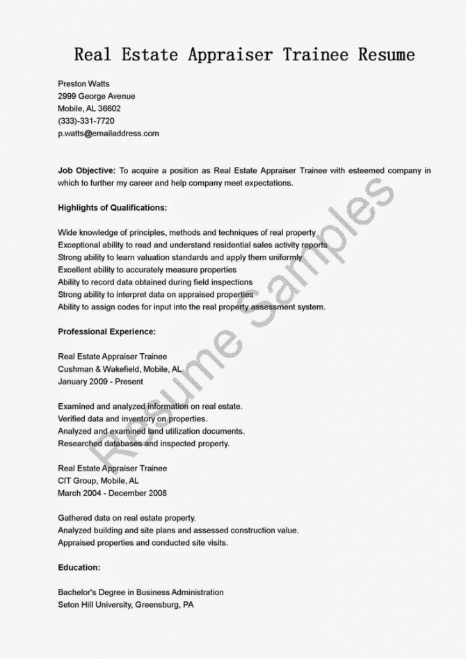 Real Estate Appraiser Trainee Resume Sample Samples Resame Letter