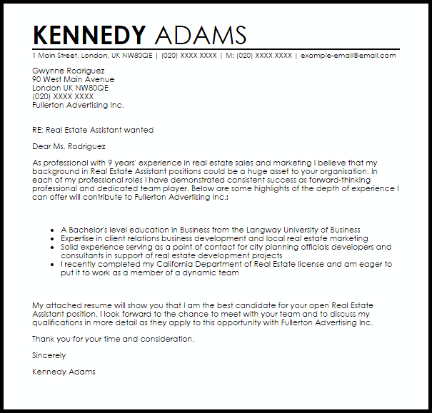 Real Estate Assistant Cover Letter Sample