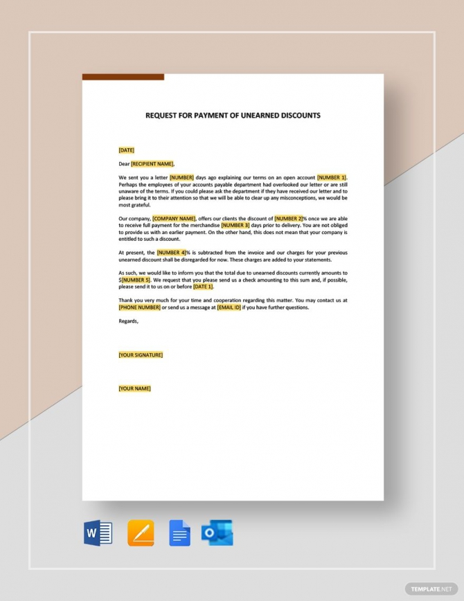 Request For Payment Of Unearned Discounts Template Ad    Ad