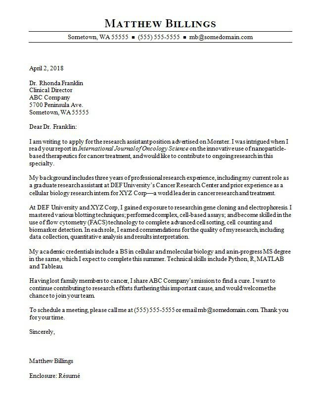 Research Assistant Cover Letter Sample