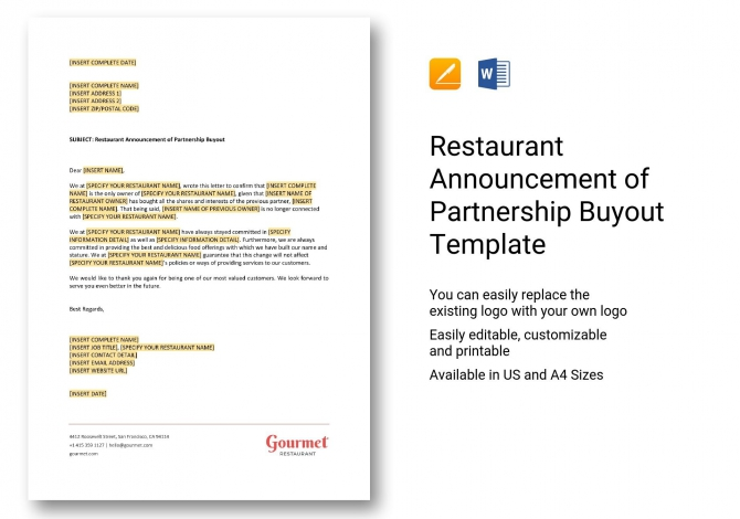Restaurant Announcement Of Partnership Buyout Template In Word