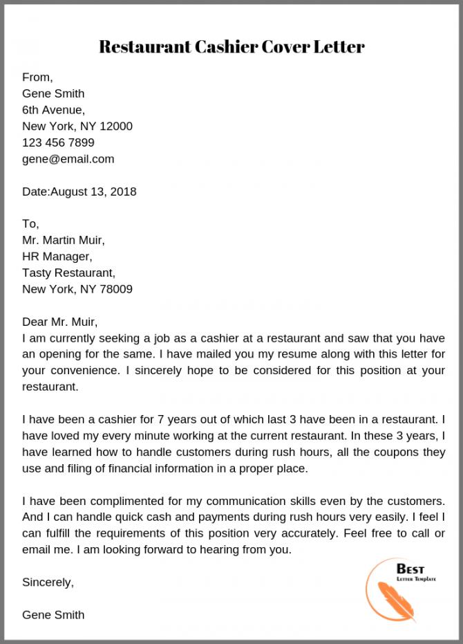 Restaurant Cashier Cover Letter