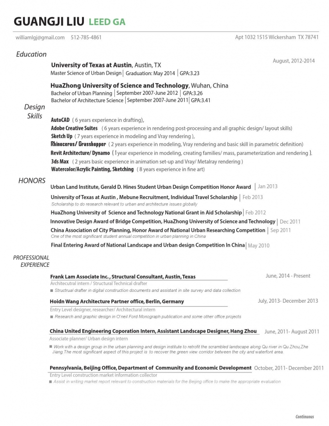 Resume Cover Letter By Guangji Liu