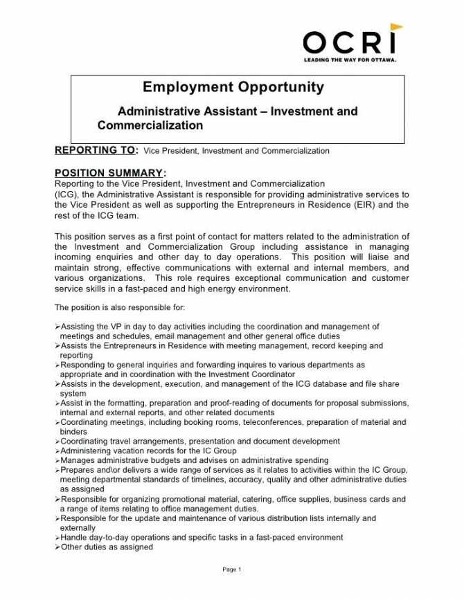 Resume For Administrative Job Resume For Administrative