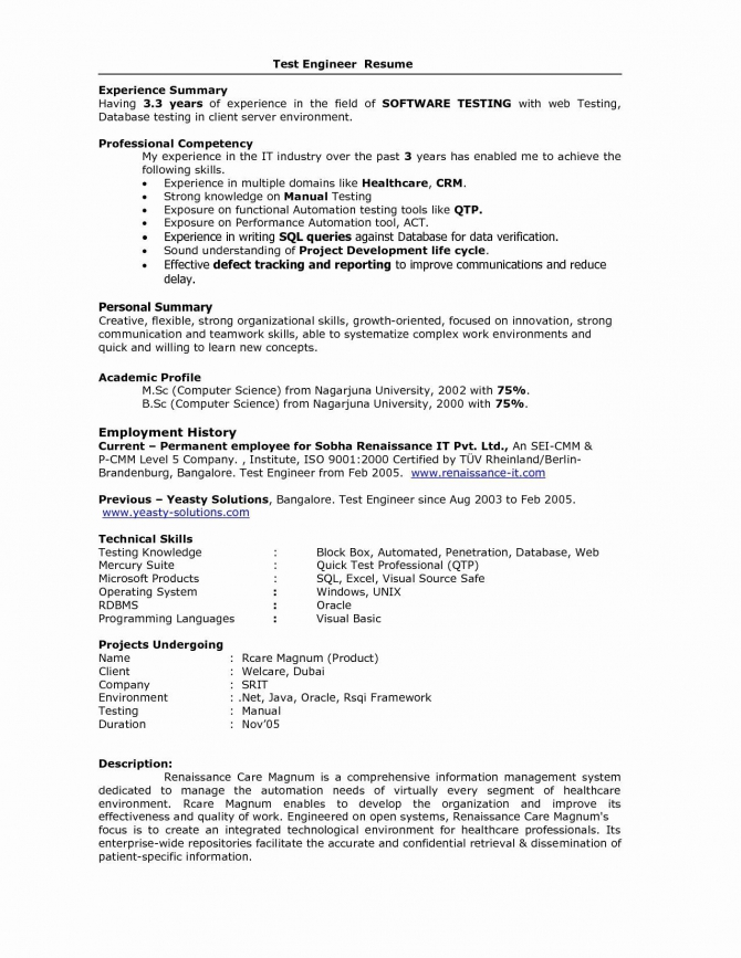 Resume Format For  Years Experience In Testing   Experience