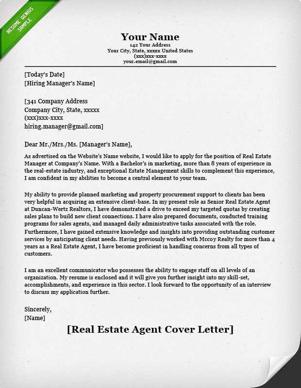 Resume Genius Real Estate Agent Cover Letter Resume Genius
