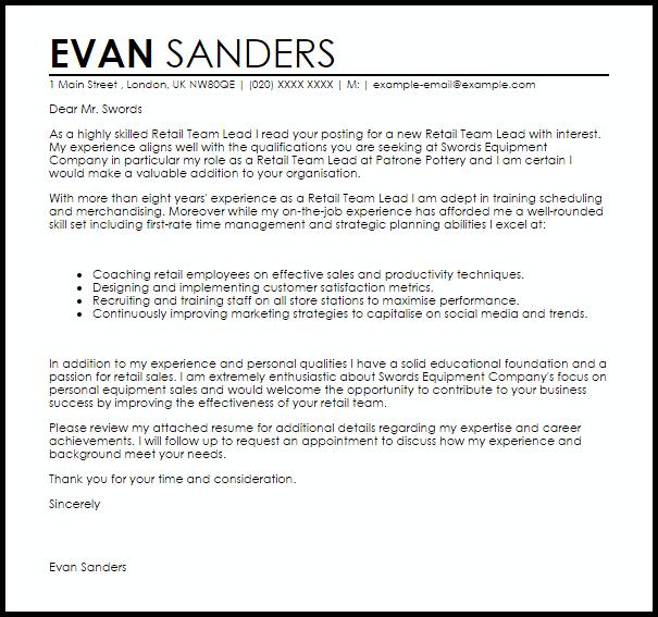 Retail Team Leader Cover Letter Sample