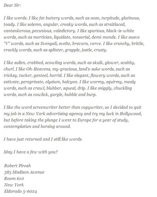 Robert Pirosh Letter