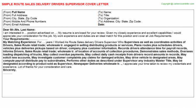 Route Sales Delivery Drivers Supervisor Cover Letter