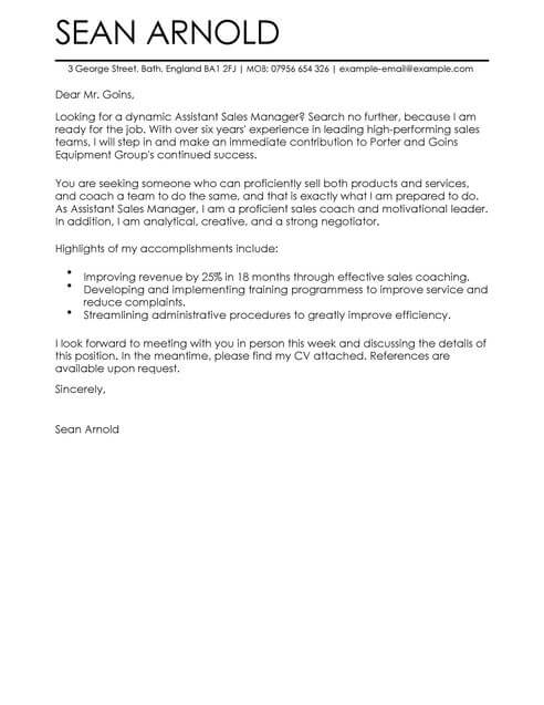 Sales Assistant Manager Cover Letter Template