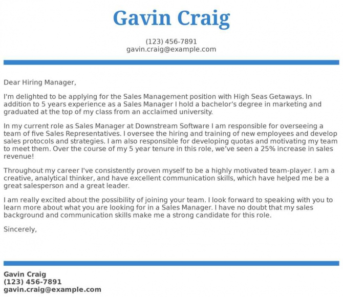 Sales Manager Cover Letter Examples  Samples   Templates