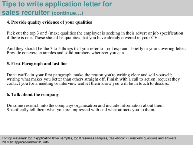 Sales Recruiter Application Letter