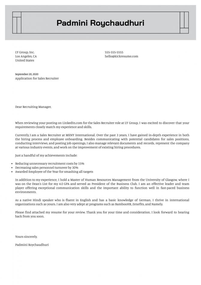 Sales Recruiter Cover Letter Sample