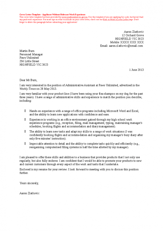 Sample Application Letter For Any Position