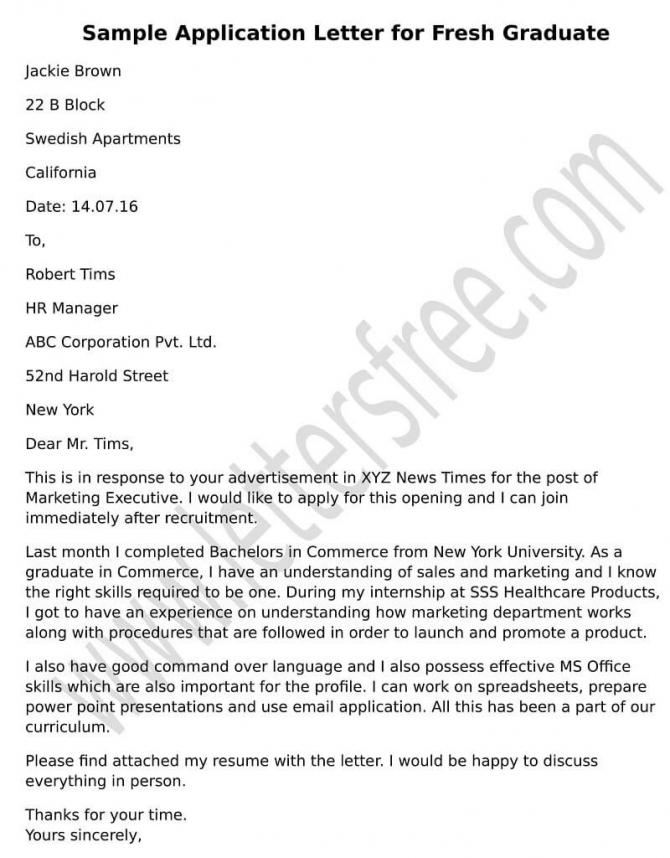 Sample Application Letter For Fresh Graduate