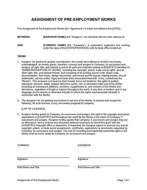 Sample Assignment Of Pre Employment Works Template