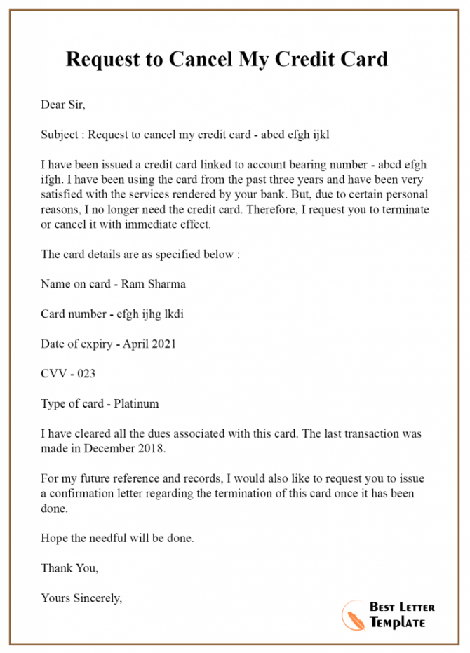 Sample Cancellation Letter Template For Credit Card Services