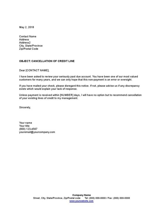 Sample Cancellation Of Credit Line Template