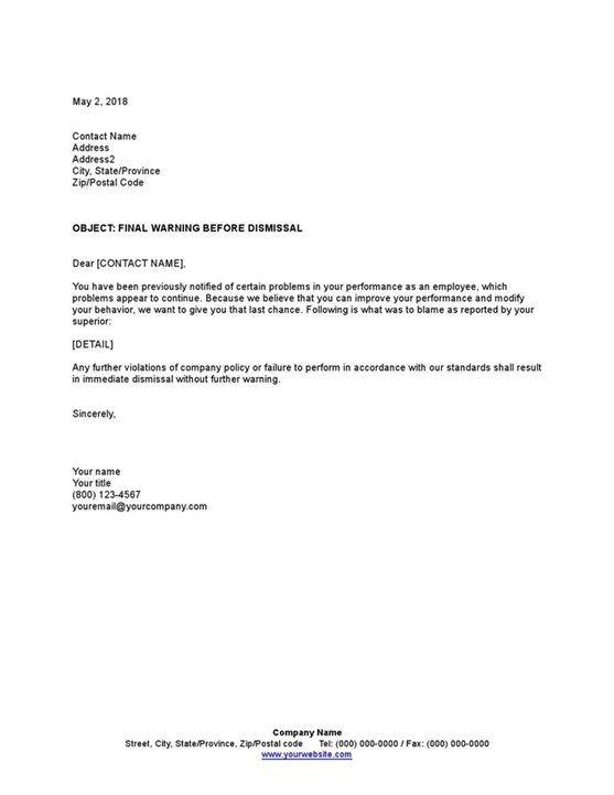 Sample Final Warning Before Dismissal Template