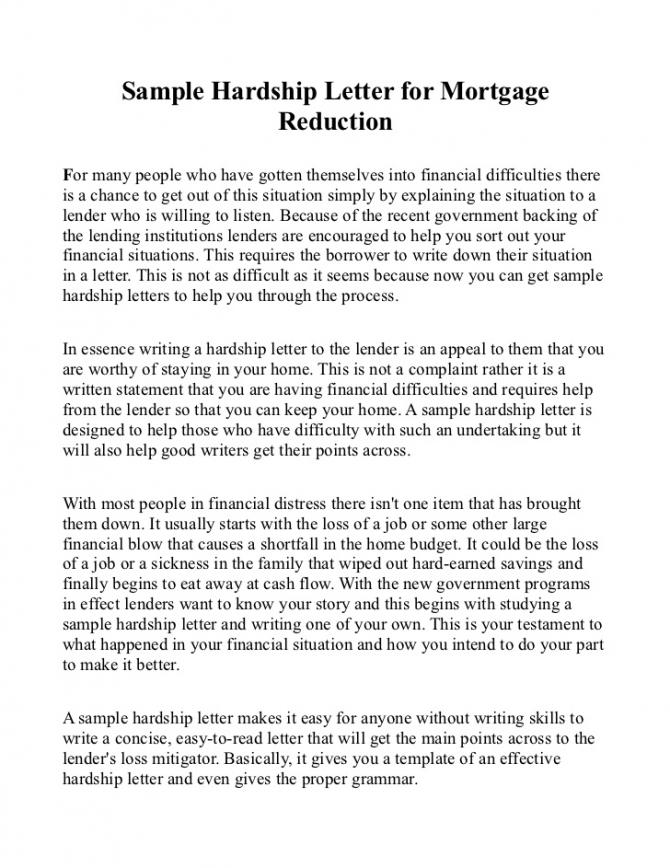 Mortgage Hardship Letter