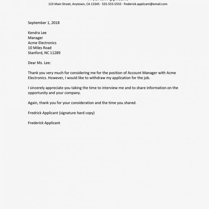 Sample Letters Withdrawing A Job Application