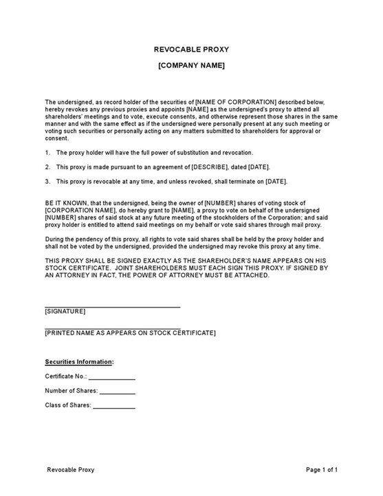 Sample Proxy Revocable Template
