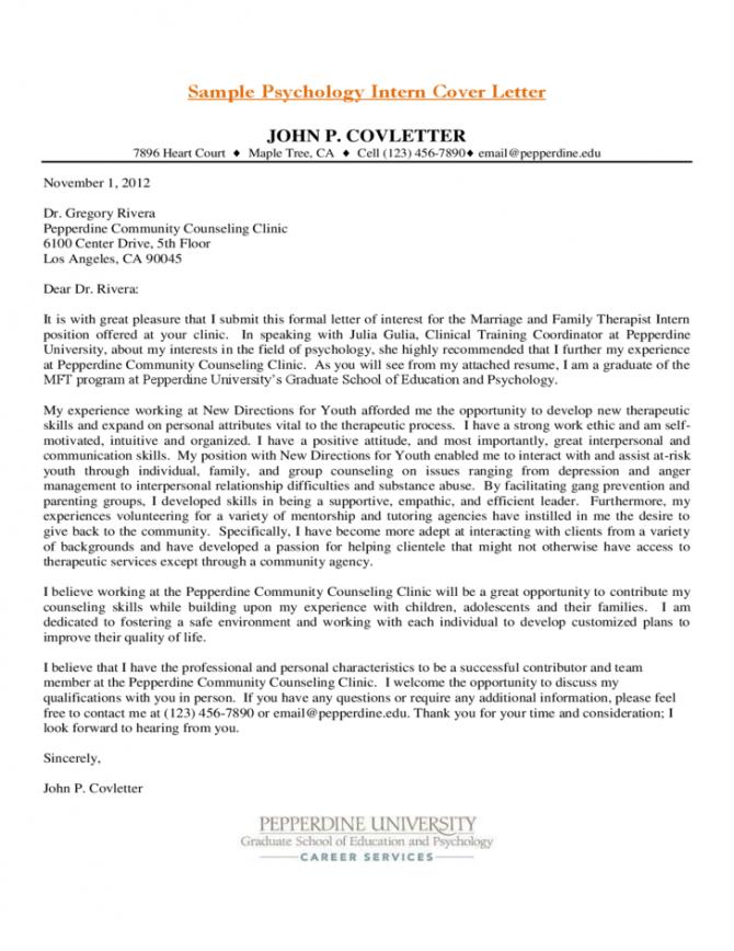 Sample Psychology Intern Cover Letter Free Download