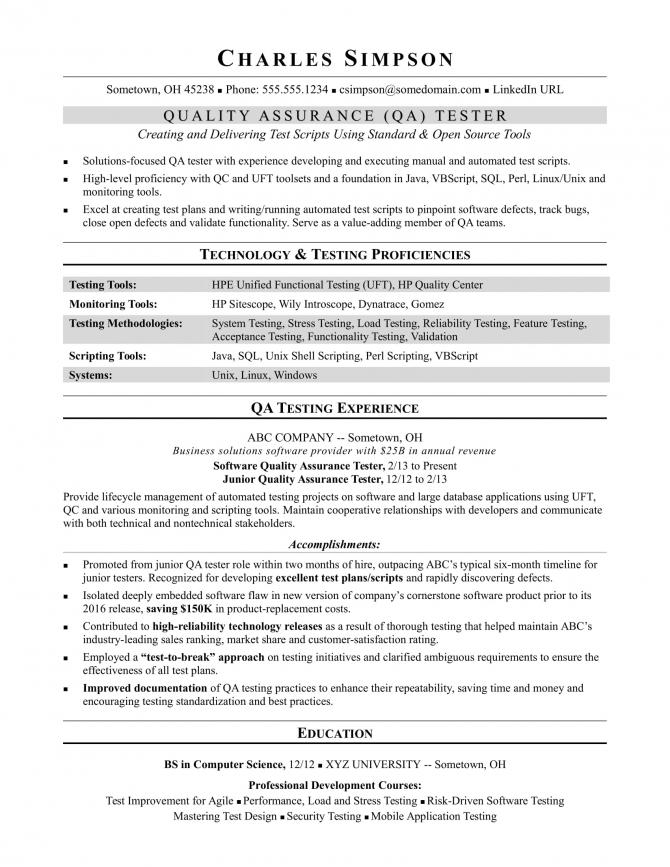 Sample Resume For A Midlevel Qa Software Tester