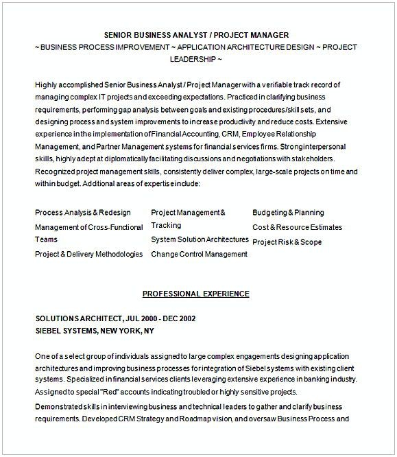 Sample Resume For Business Analyist    Entry Level Business