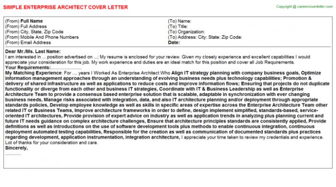 Sap Portal Architect Cover Letters
