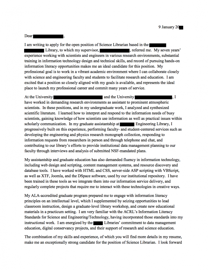 Science Librarian Cover Letter