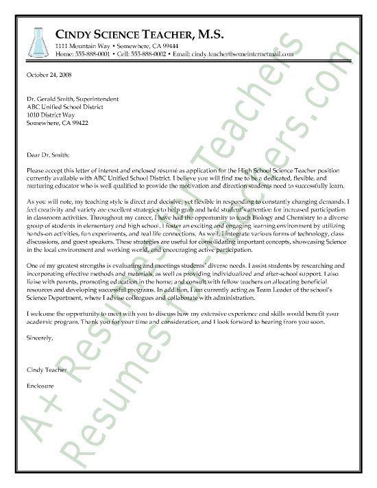 Science Teacher Cover Letter Sample