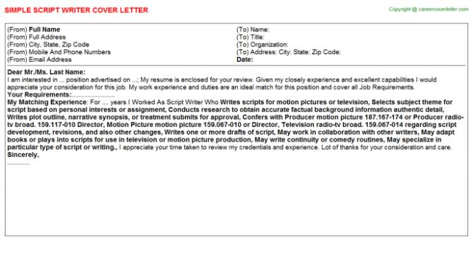 Script Writer Cover Letter