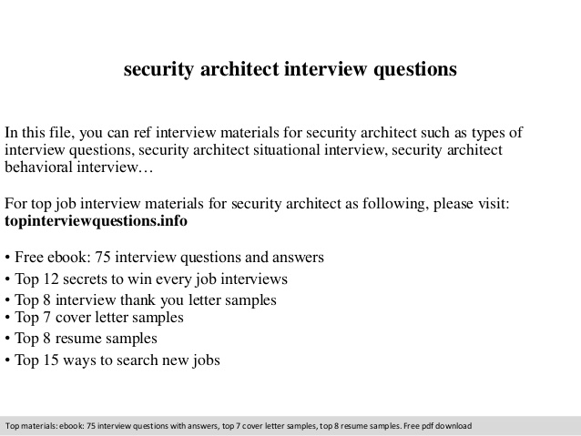 Security Architect Interview Questions