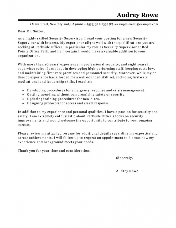Security Supervisor Cover Letter Example Tips