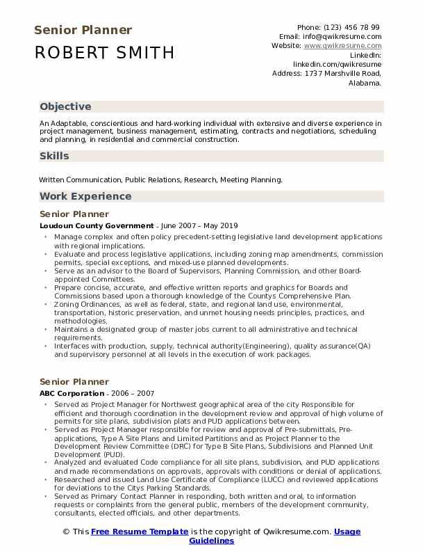 Senior Planner Resume Samples