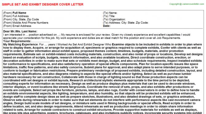 Set And Exhibit Designer Cover Letter