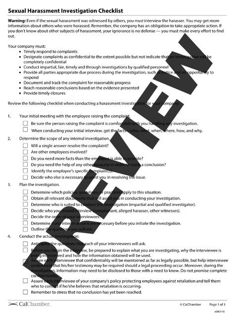 Sexual Harassment Investigation Checklist