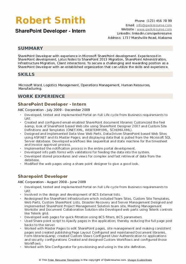 Sharepoint Developer Resume Samples