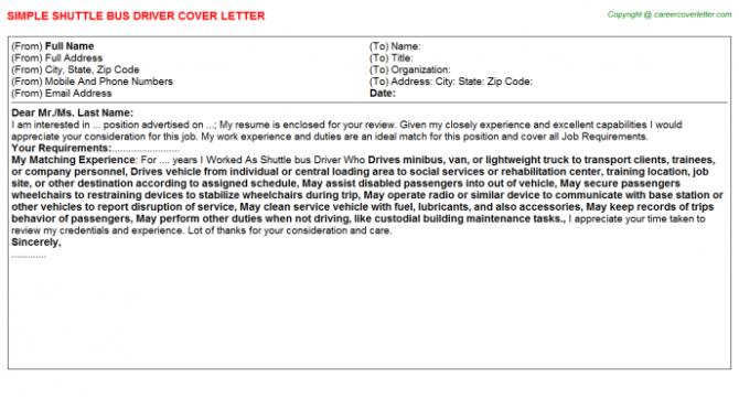 Shuttle Bus Driver Cover Letter