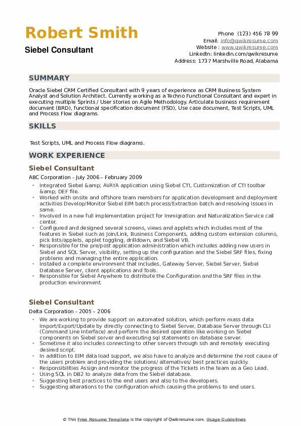 Siebel Consultant Resume Samples