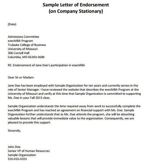 Simple Endorsement Letter Sample Beautiful  Sample Endorsement