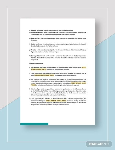 Software Development And Publishing Agreement Template Ad    Ad