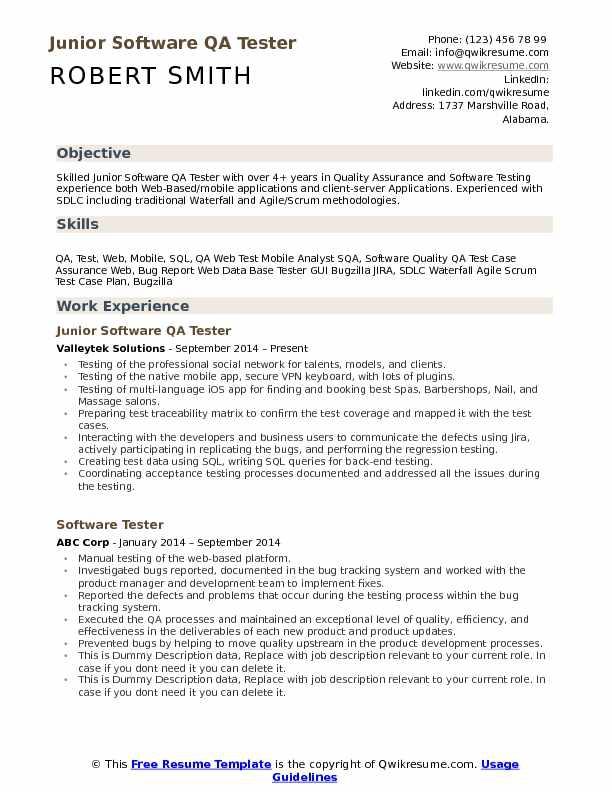 Software Qa Tester Resume Samples