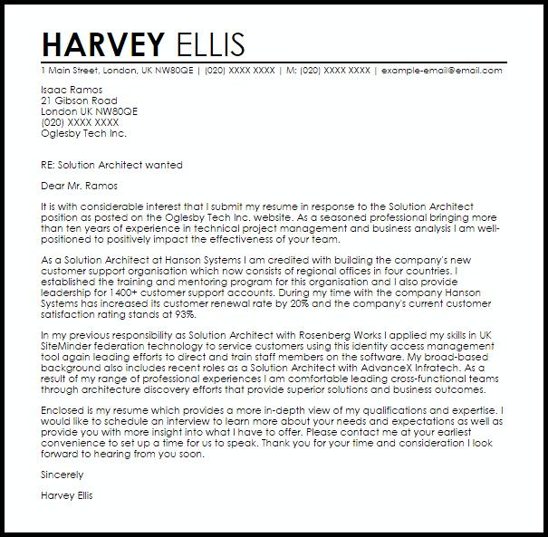 Solution Architect Cover Letter Sample