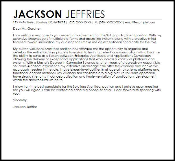 Solutions Architect Cover Letter Sample