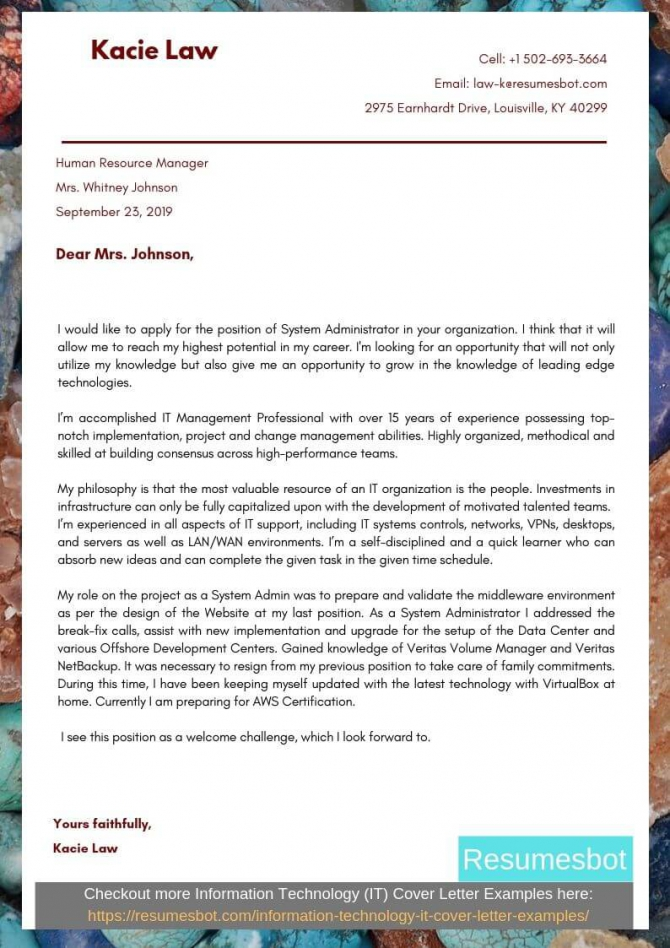 System Administrator Cover Letter Samples   Templates Pdfword