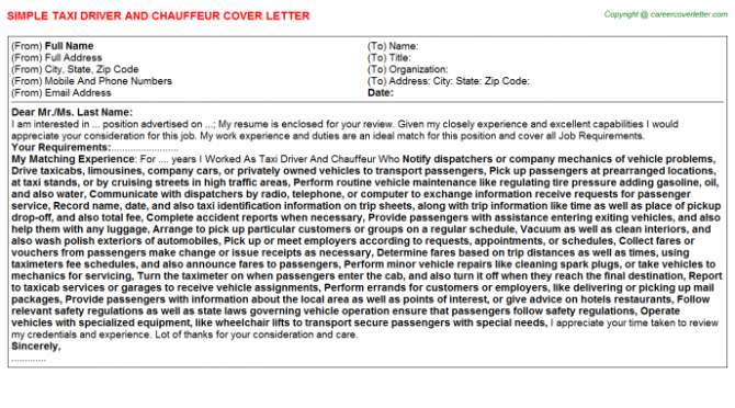 Taxi Driver And Chauffeur Cover Letter