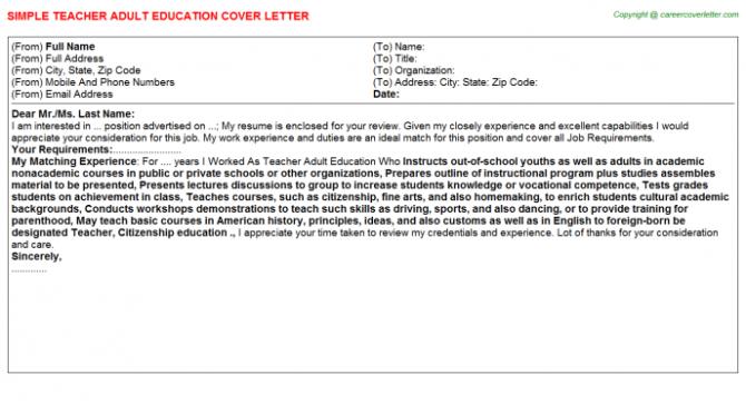 Teacher Adult Education Cover Letter